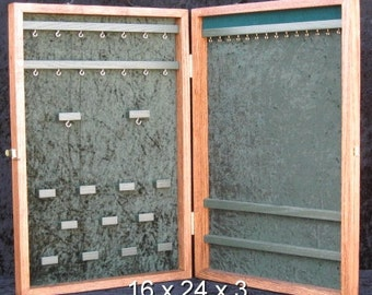 Jewelry Display Case, portable display, craft show display, wood jewelry display, Ex Large - Custom order ~ Pick your layouts