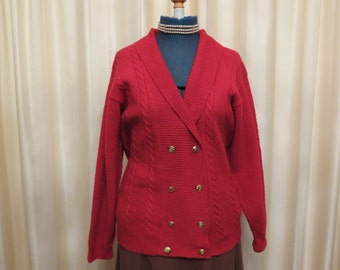 Vintage 90s Shetland Wool Double Breasted Red Knit Cardigan Jumper Sweater