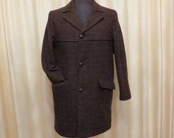 Vintage 60s Famous Norway By Sackville Of Melbourne Pure Wool Men's Checkered Brown Overcoat Coat Jacket