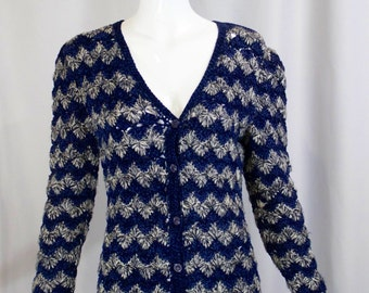 1970s vintage YSL Yves Saint Laurent blue white zig zag striped CROCHET knit fitted sweater button up long cardigan S small