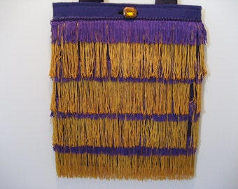 Shoulder Bag Tote Bag Shimmie Fringe Purple and Gold SSSS9-17