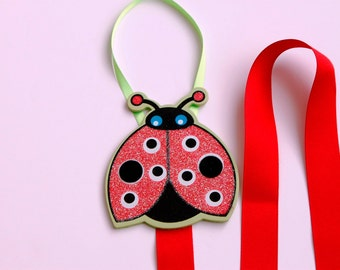 Barrette Keeper Organizer Sparkly Ladybug