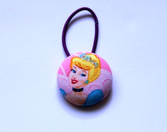 Cinderella Fabric Covered Giant Button Ponytail Holder