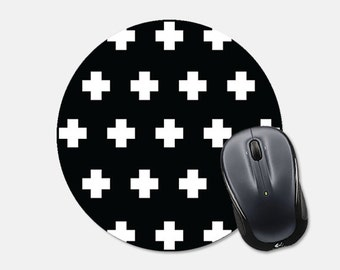 Mousepad Mouse Pad Gift for Coworker Round Mousepad Round Mouse Pad Plus Sign Mouse Pad Black Mousepad Black Mouse Pad