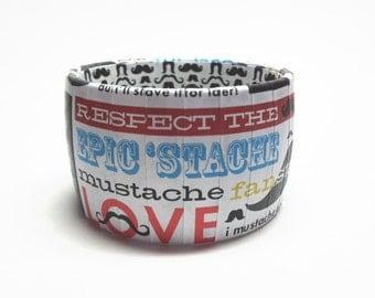 Handmade Bangle Bracelet - Mustache Bracelet - Handmade Bracelet - Chunky Bangle - Mustache Jewelry - Fun Bracelet - Costume Jewelry