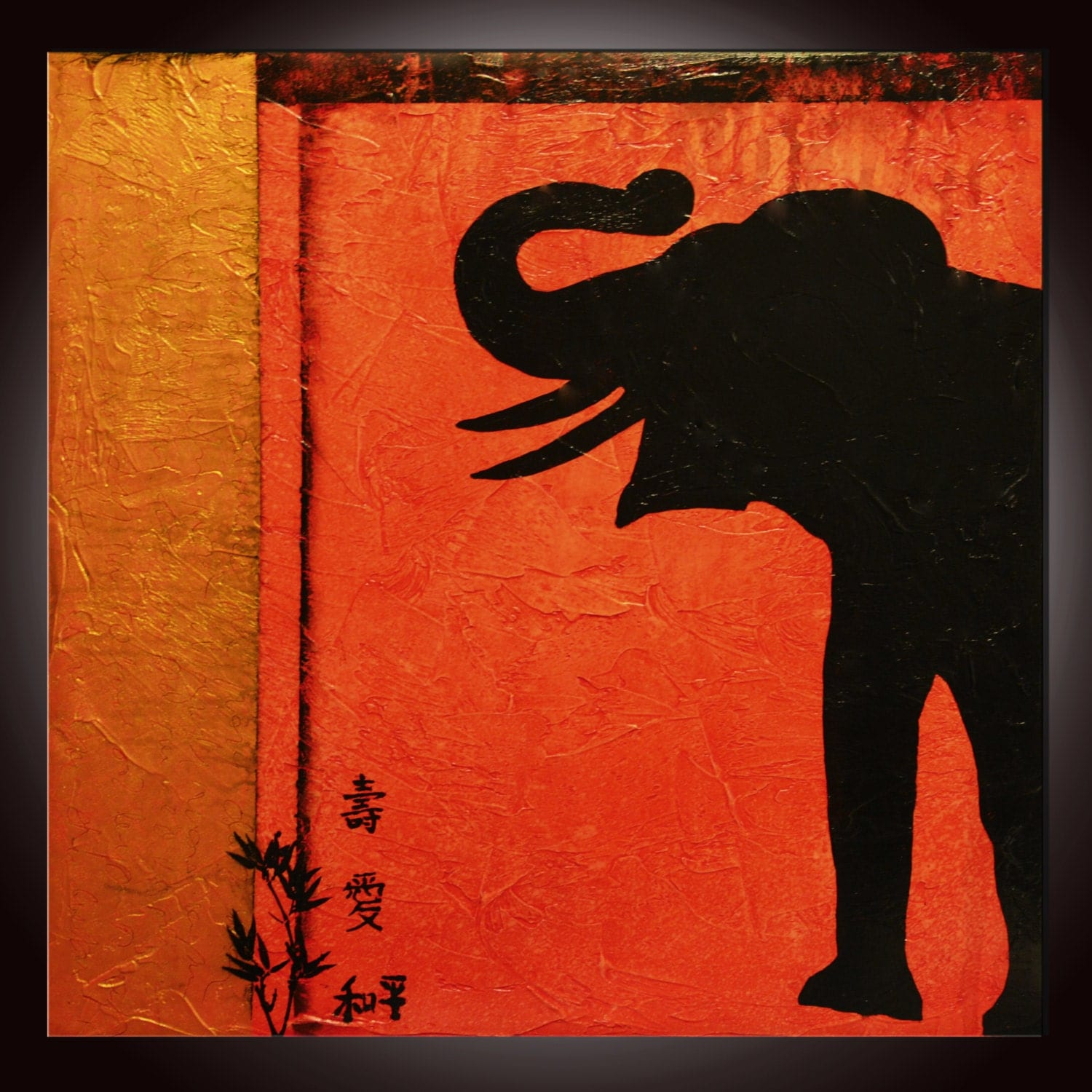 Abstract painting red elephant prosperity art motivational - Elephant meaning feng shui ...