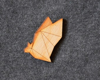 Geometric Bat Wooden Brooch