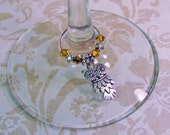 Owl Themed with Gold Beads One Single Wine Glass & Stemware Marker