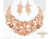 Peach Flower Necklace Set, Bridal Statement Necklace, Wedding Jewelry, Vintage Inspired Necklace, Crystal Necklace