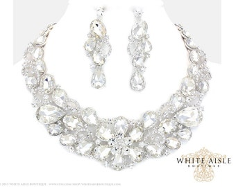 Flower Bridal Statement Necklace, Crystal Wedding Jewelry Set, Vintage Inspired Necklace, Chunky Necklace, Wedding Necklace Earrings