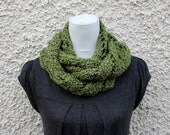 SCARF knit Olive green infinity loop scarf, gift hor her, UK knitwear