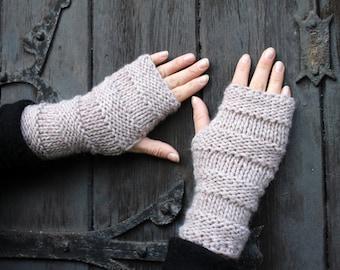 FINGERLESS GLOVES, knitted womens beige mittens, gift for her, knitwear UK