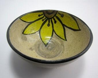 Stoneware Bowl - Ceramic Serving Bowl - Pottery Bowl - Yellow Sunflower - Zen Doodle - Rustic Decor - Small Serving Bowl