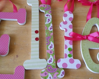 Wooden Letters, Girls Nursery, Paisley, Pink and Green, Baby Girl, Name Wall Letter, avail in any size or font in this shop