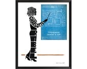 Personalized Female Engineer or Architect Print, Electrical Engineer, Mechanical Engineer, Framed Silhouette, Engineer Gift, Architect Gift