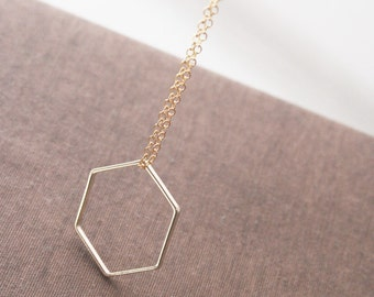 Hexagon Necklace,Gold Necklace,Minimalist Necklace,Delicate Necklace,Dainty Gold Necklace,,Minimal Necklace,Bridesmaid Gift
