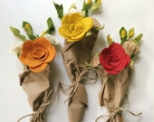 Fall Felt Bouquet - Autumn - Choose mustard, pumpkin, or brick - Felt Flowers