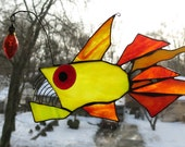 Red Eyed Anglerfish Stained Glass  Suncatcher