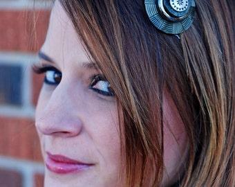 Deco Equinox Vintage Button Hair Comb