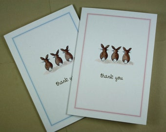Thank You Note Bunny Rabbit Tails, Set of 8. Pale Pink Border or Pale Blue. Handmade Notecards Greeting Cards Packaged