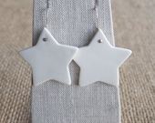 Ceramic Jewelry, Porcelain Star Earrings with Sterling Silver by Mrs Peterson Pottery