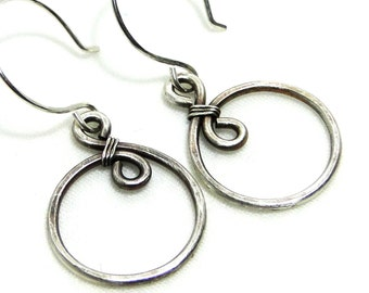 Sterling Silver Wire, Swirl, Wire Wrapped Earrings