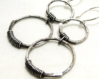 Circle Jewelry, Hammered Earrings, Sterling Silver Wire Jewelry, Handcrafted Earrings