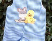 Easter Bunny and Duck applique jon jon blue gingham size 9 mo - 3T