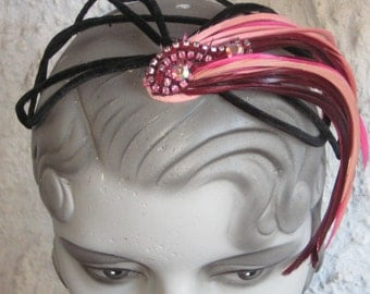 Sweet Chic Accent On Your Head Skull Type Hat With Pink Feathers N Rhinestones