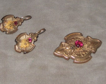 Heirlooms From The Past Fabulous Gold Filled Victorian Earings Brooch Pendant Set