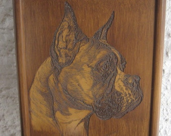 I love My Boxer Hand Carved Wood Boxer framed Portrait