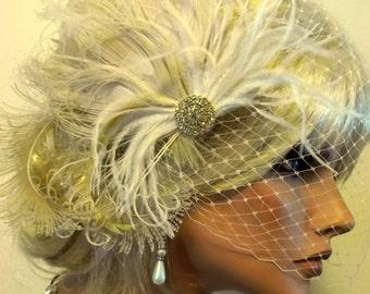 Wedding Hair Clip, Bridal Fascinator,French Net Bridal Veil, Gold Brooch, Feather Fascinator, Ivory Wedding Fascinator, Bridal Veil