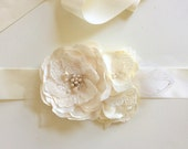 Ivory Satin Flowers and Lace Handmade Bridal Sash Belt Wedding Style 3
