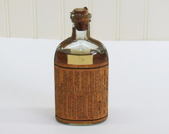 1800s Pond's Extract Bottle w/ Label & Contents Aqua Green Bottle