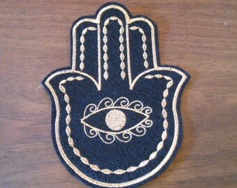 golden hamsa metallic  thread embroidered iron on patch