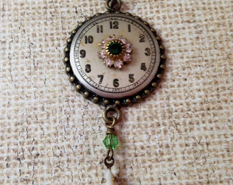 Antique Watch Face with Green Crystals