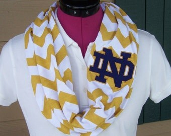 Notre Dame Gold & White Game Day Chevron Infinity Scarf  Knit Jersey