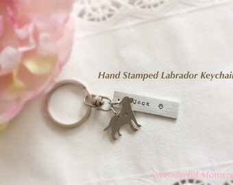 Hand Stamped Labrador Keychain Personalized With Name