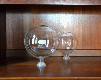 vintage pyrex scientific glass boiling flasks - set of two