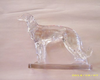 Vintage Clear Glass Dog Figurine