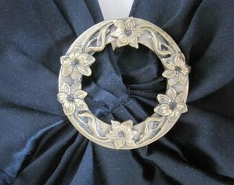 Vintage Brass Pin Sash Pin Round Brooch Flowers Wreath Original C Clasp