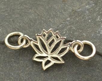 Sterling Silver Lotus Link - C1264, Yoga, Zen, Meditation, Flower