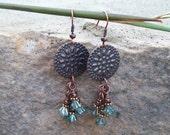 SALE - Aquamarine Bell Flower Beaded Cluster Dangle Earrings - Copper Earrings - Rustic Gypsy Earrings