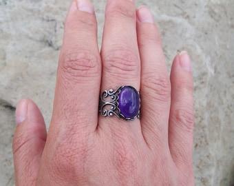 Amethyst Gemstone Ring - Adjustable Silver tone filigree band Ring, Gypsy ring, bohemian