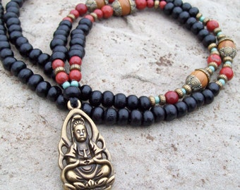 Buddha Pendant Necklace with Red Jasper and Black Wood Beads - Long Bohemian Necklace with Buddha Pendant - Yoga Necklace