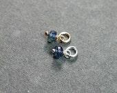 Tiny Kyanite Denim Blue Gemstone Pendant, Sterling Silver Wire Wrapped Stone - Add a Dangle