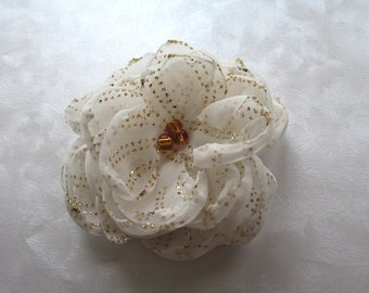 Golden Drops Singed Organza White and Gold Hair Flower Clip Mountain Musings mountainmusings
