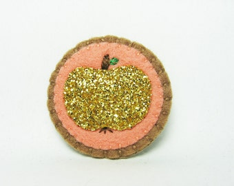 Gold Glitter Apple Felt Brooch / Metallic Gold Apple Felt Brooch / Apple Felt Brooch / Gold Shimmer Apple Felt Brooch - made to order