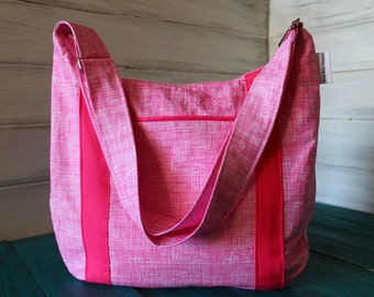 Pink and White Sketch Devlin Hobo with hot pink accents and zipper closure