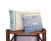 Blue White Knit Snowflake Sweater Pillows Up Cycled Sweater